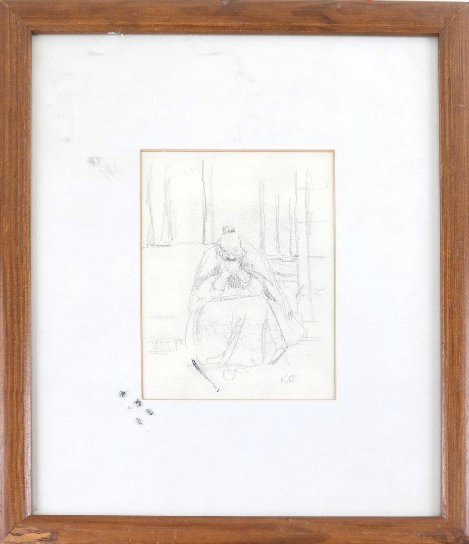 Kate Greenaway, Seated Woman, Drawing - 2