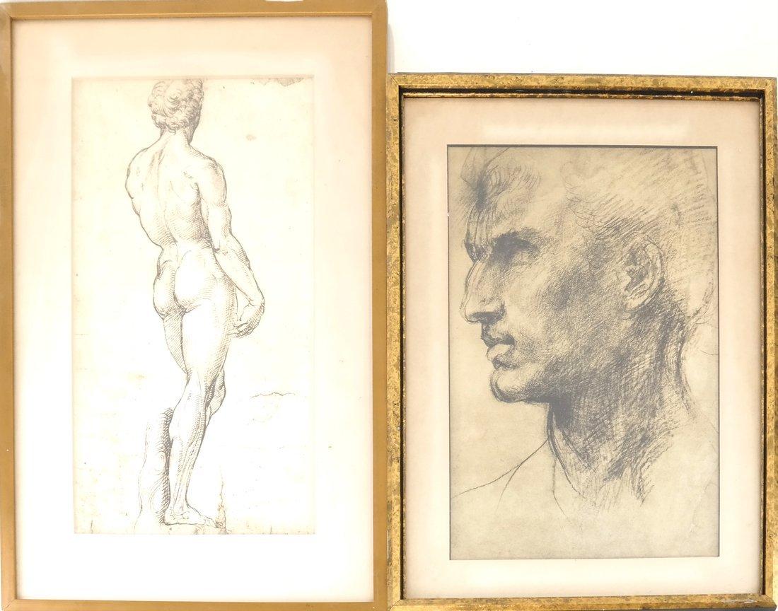 Two Prints: Portrait, Nude