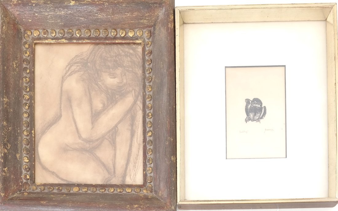 Woodblock & Print: Bird, Nude