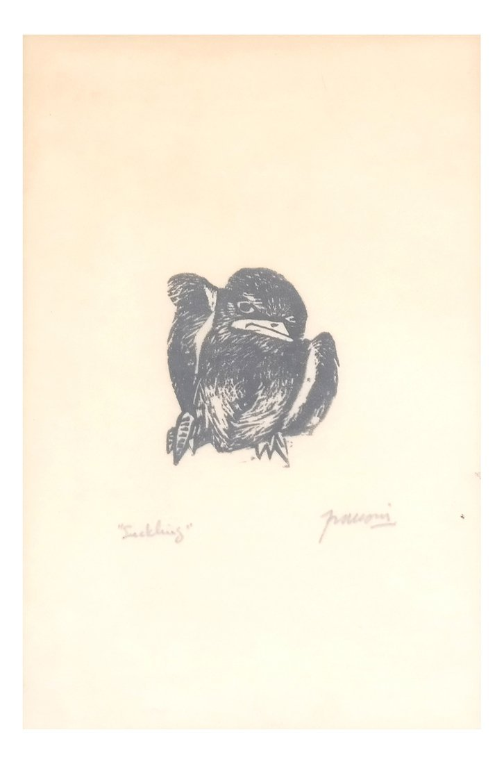 Woodblock & Print: Bird, Nude - 3