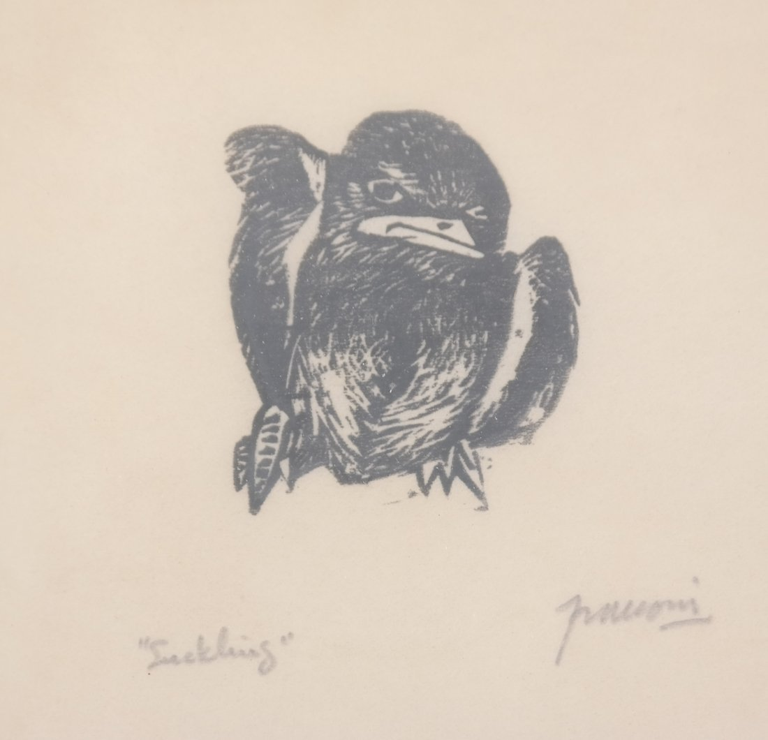 Woodblock & Print: Bird, Nude - 4