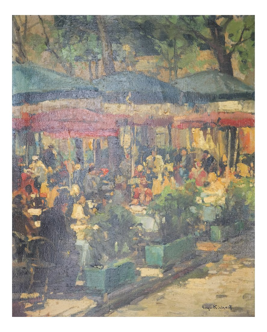 Impressionist Cafe Scene, Oil on Canvas