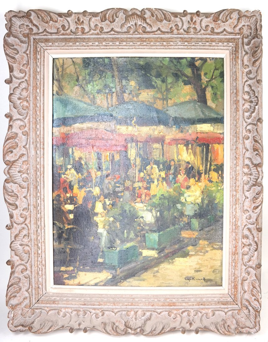 Impressionist Cafe Scene, Oil on Canvas - 2