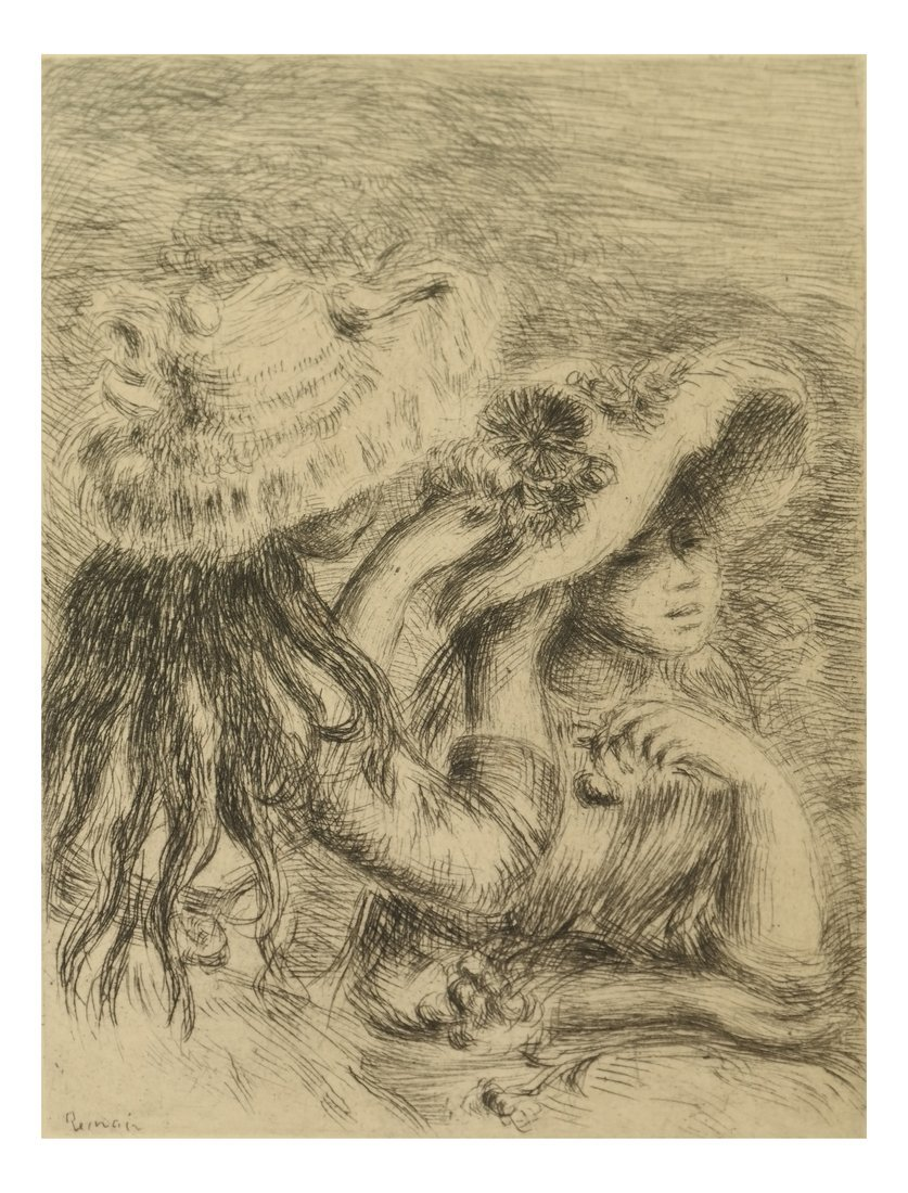 Etching After Renoir, Two Girls