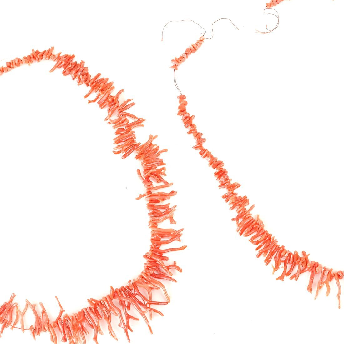 Two Strands of Oxblood Branch Coral - 6