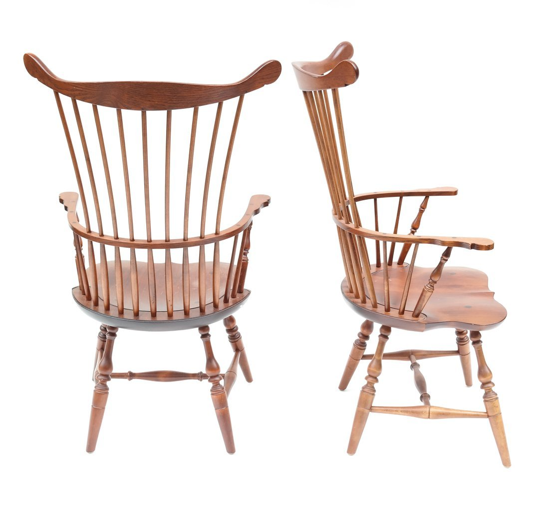 Pair of American Windsor Chairs - 7