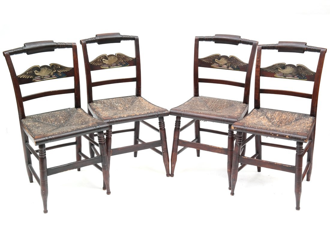 Four American Rush Seat Side Chairs