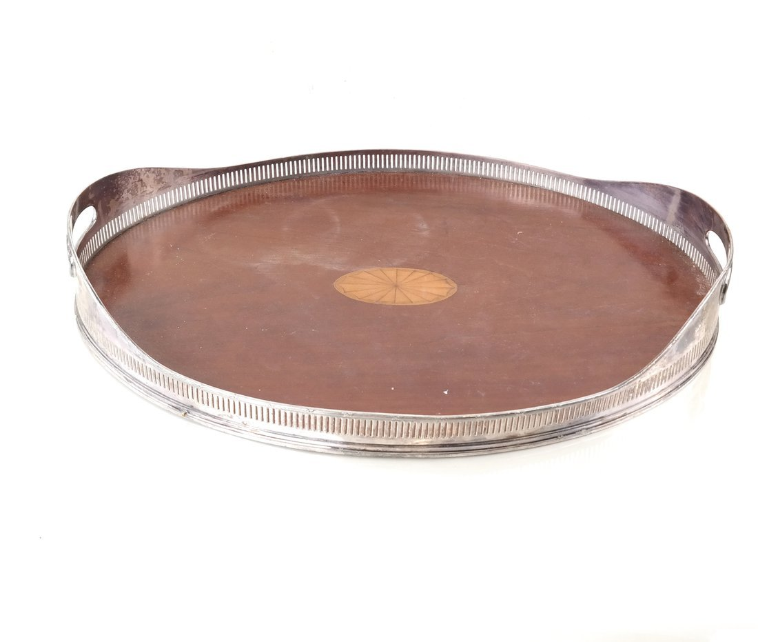 Silver-Plate & Wood Oval Tray