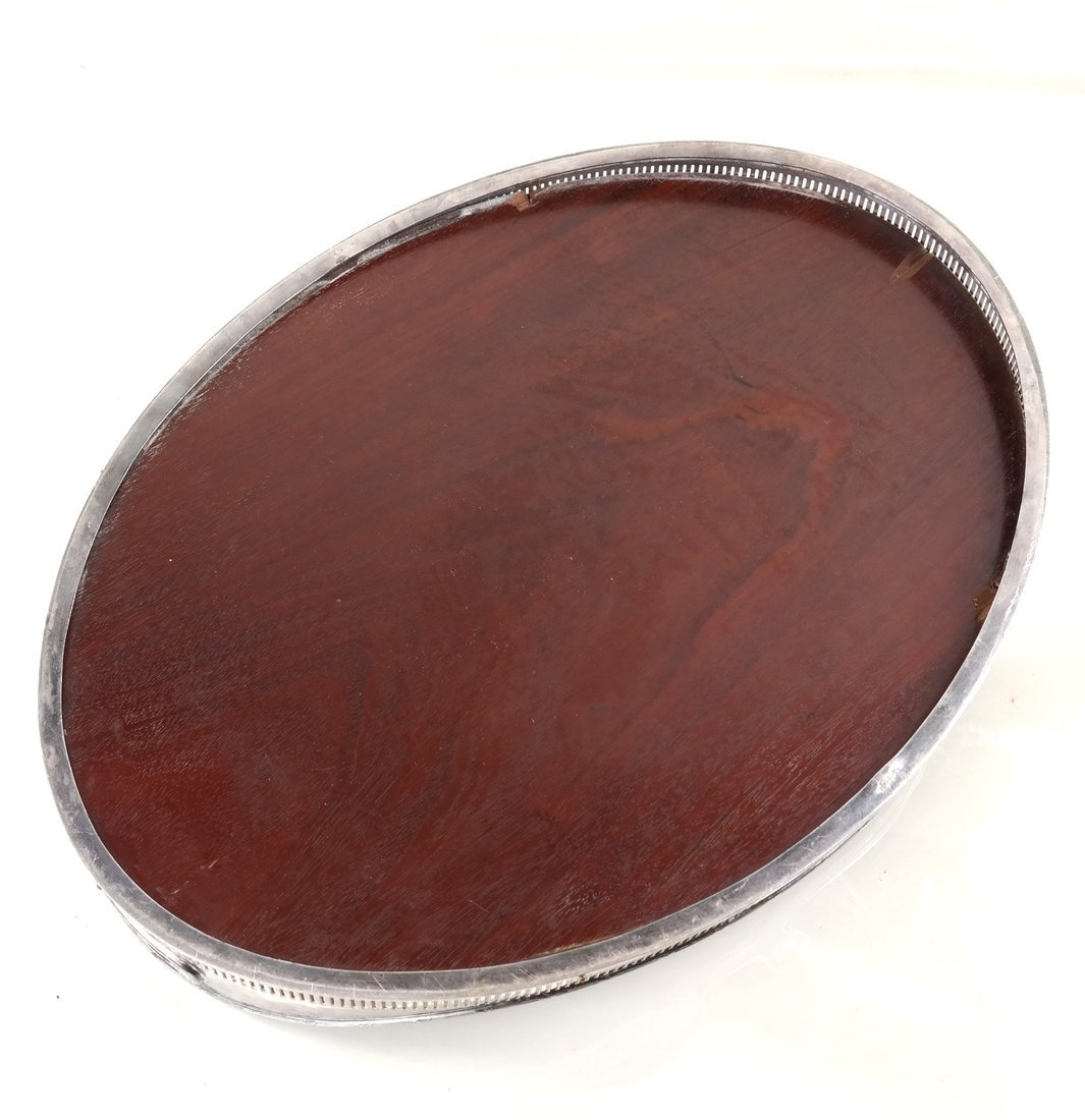 Silver-Plate & Wood Oval Tray - 5
