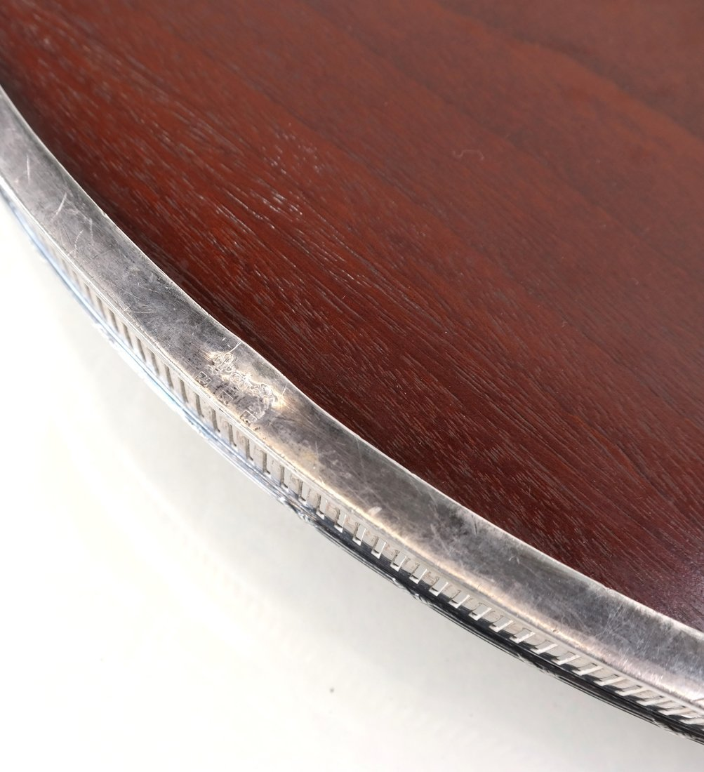 Silver-Plate & Wood Oval Tray - 7