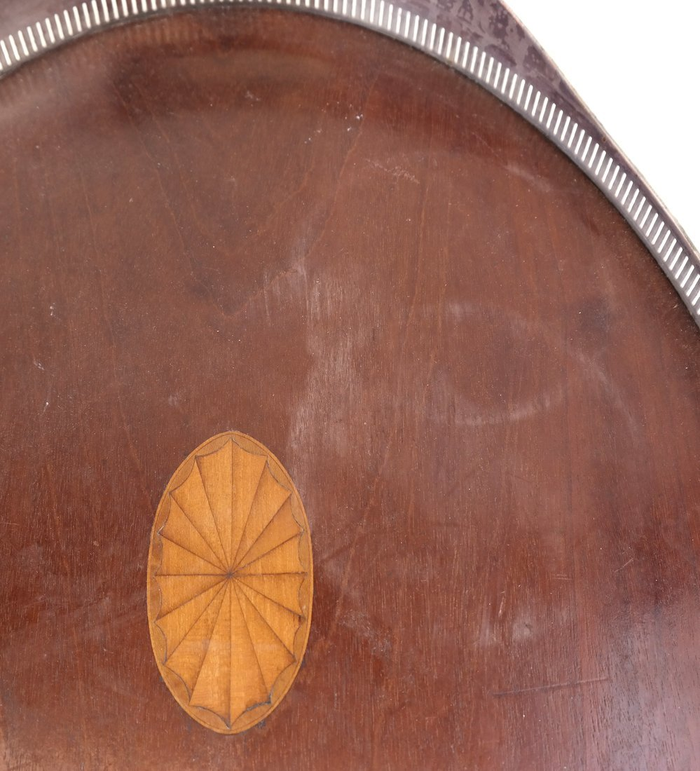 Silver-Plate & Wood Oval Tray - 9