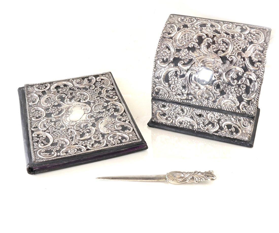 Three-Piece Silver Desk Set