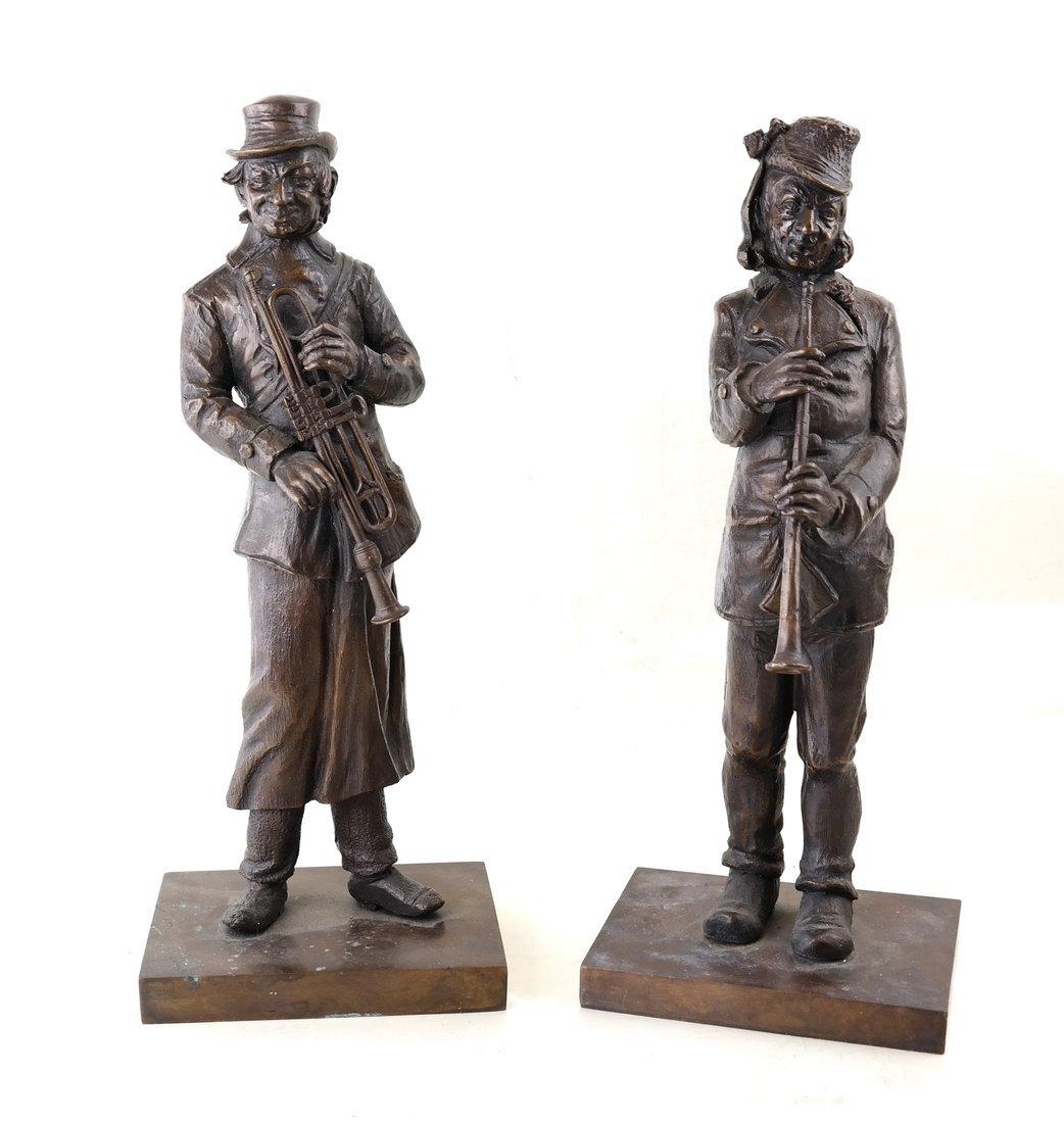 Pair of Bronze Musicians