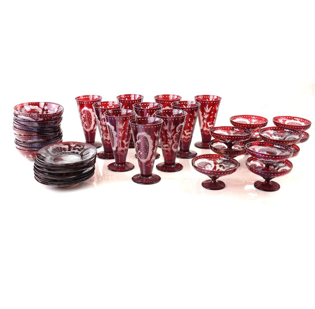 40 pieces of Ruby Glassware