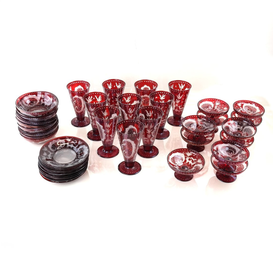 40 pieces of Ruby Glassware - 2