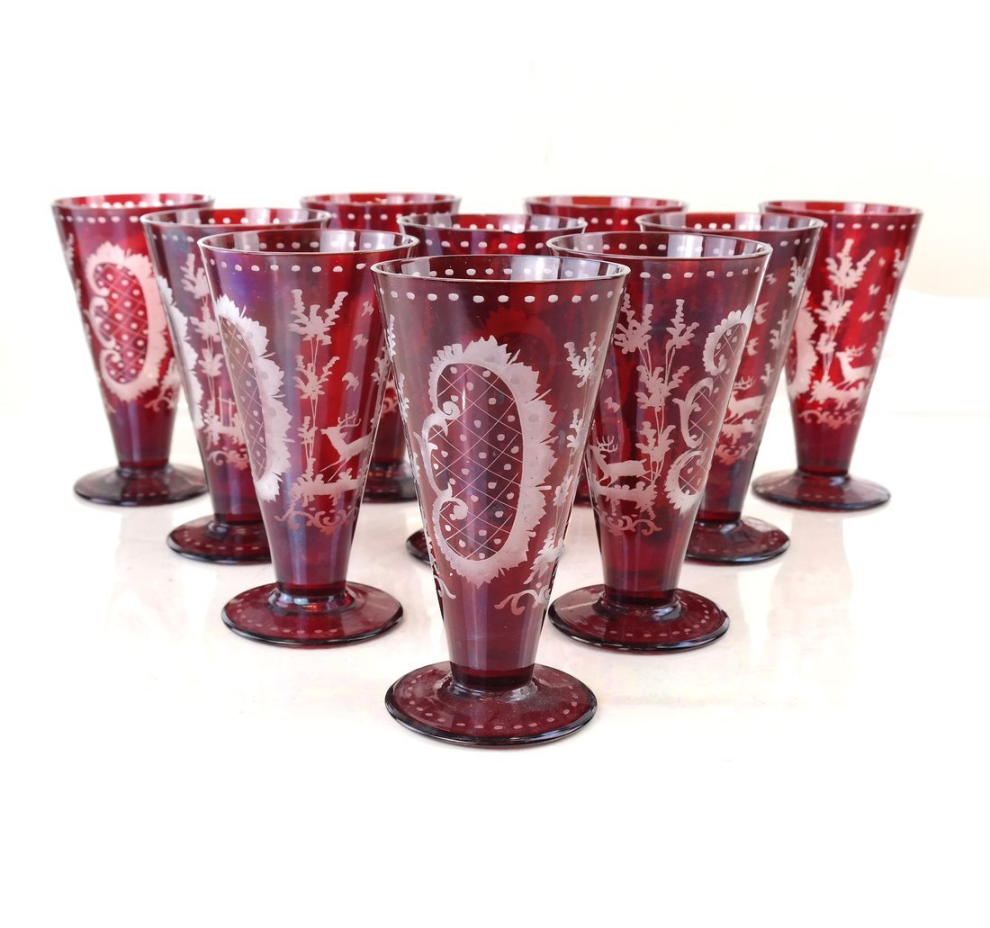 40 pieces of Ruby Glassware - 3