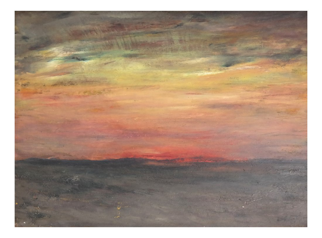 Albert L. Groll,  Sunset, Oil on Board