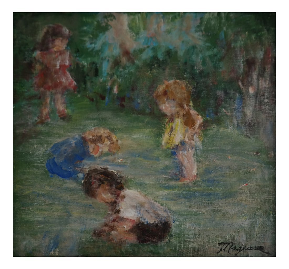Children at Play, Oil on Canvas