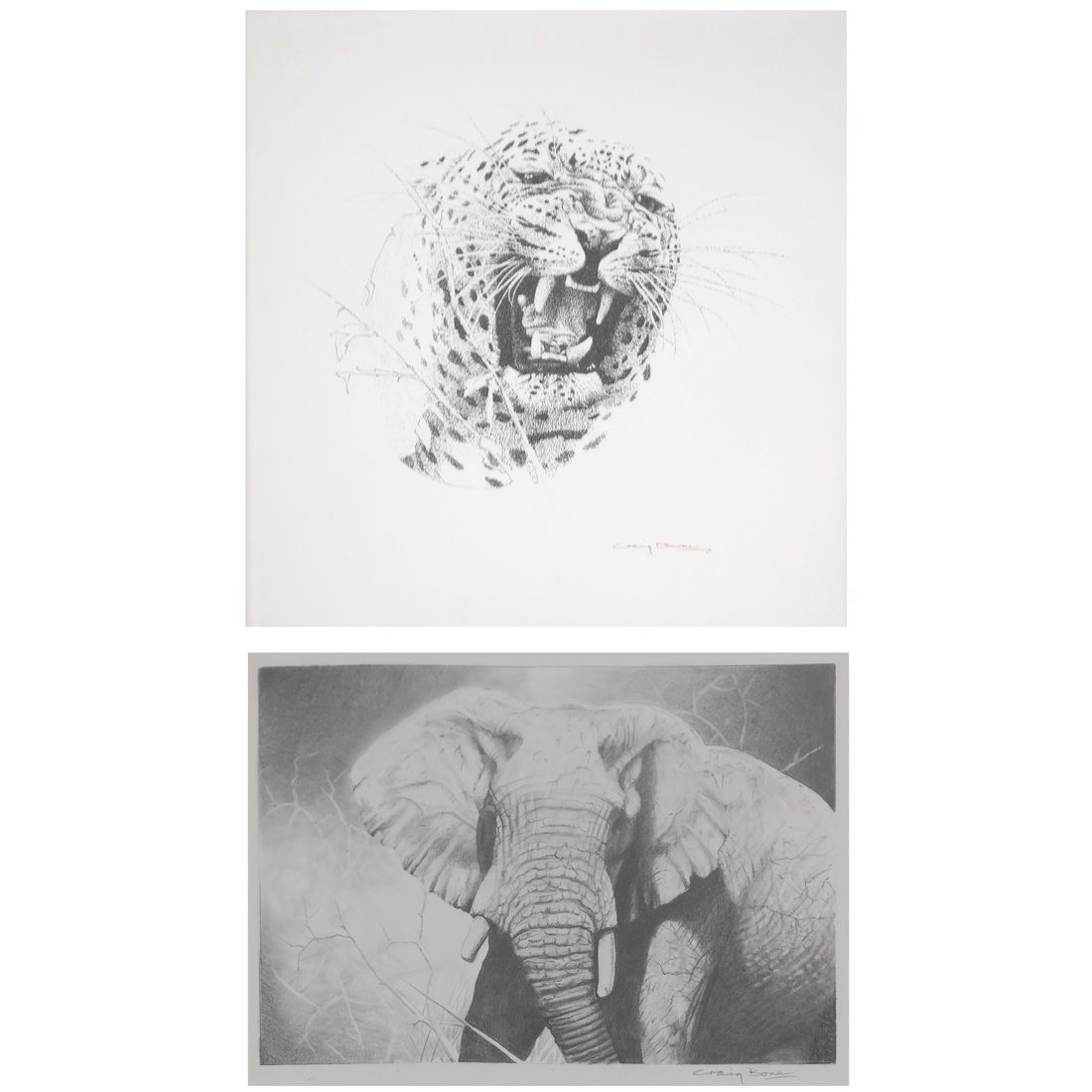Two Craig Bone Works: Tiger & Elephant