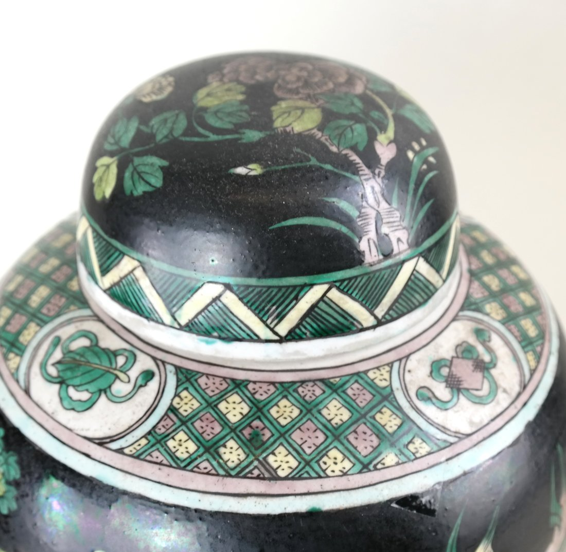 Decorated Ginger Jar and Stand - 2
