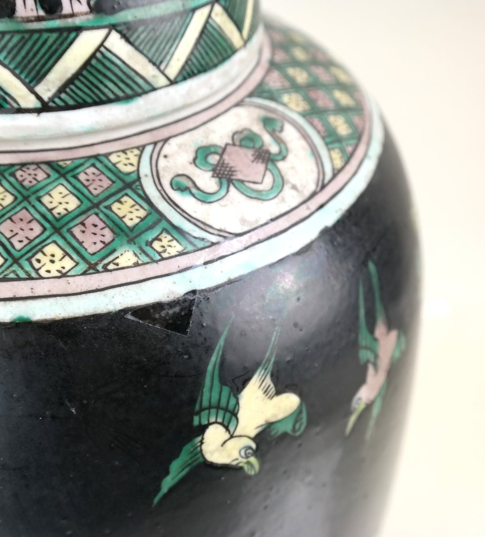Decorated Ginger Jar and Stand - 4