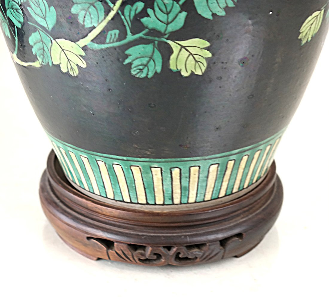 Decorated Ginger Jar and Stand - 6