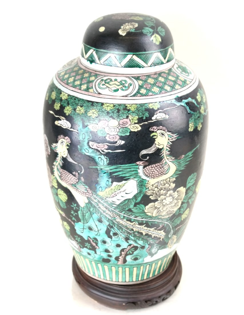 Decorated Ginger Jar and Stand - 7