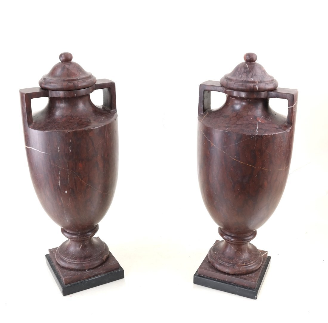 Pair of Marble Covered Urns