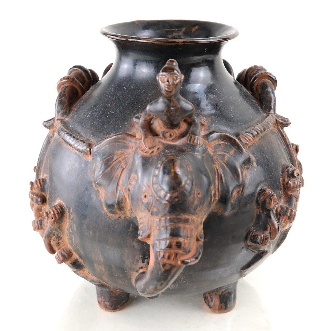 Elephant Form Pottery Vessel