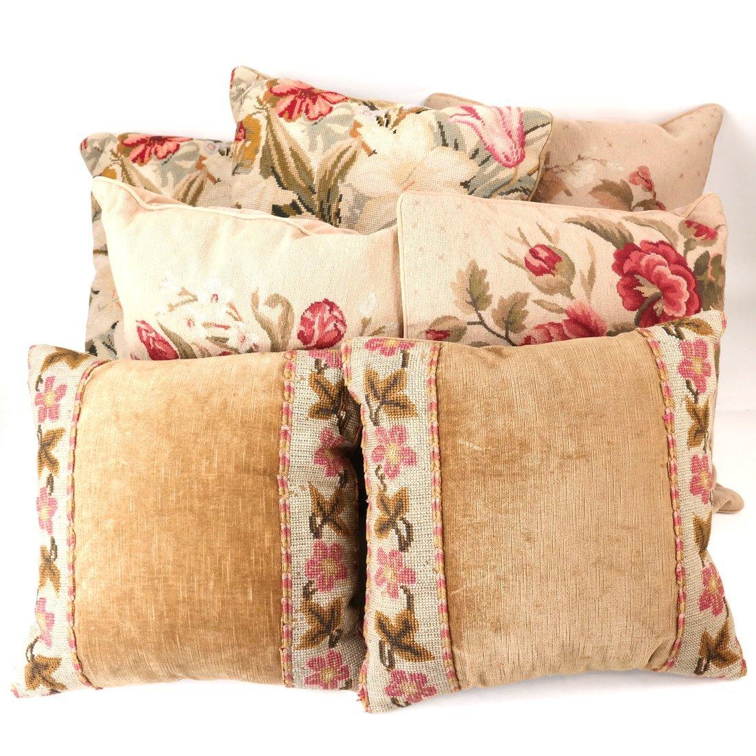 Seven Various Aubusson Pillows