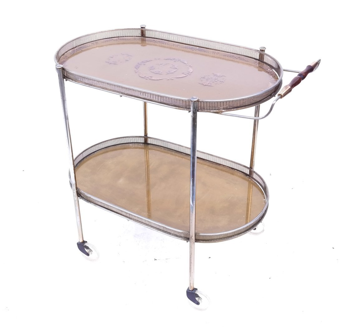 Oval Decorated Tea Cart
