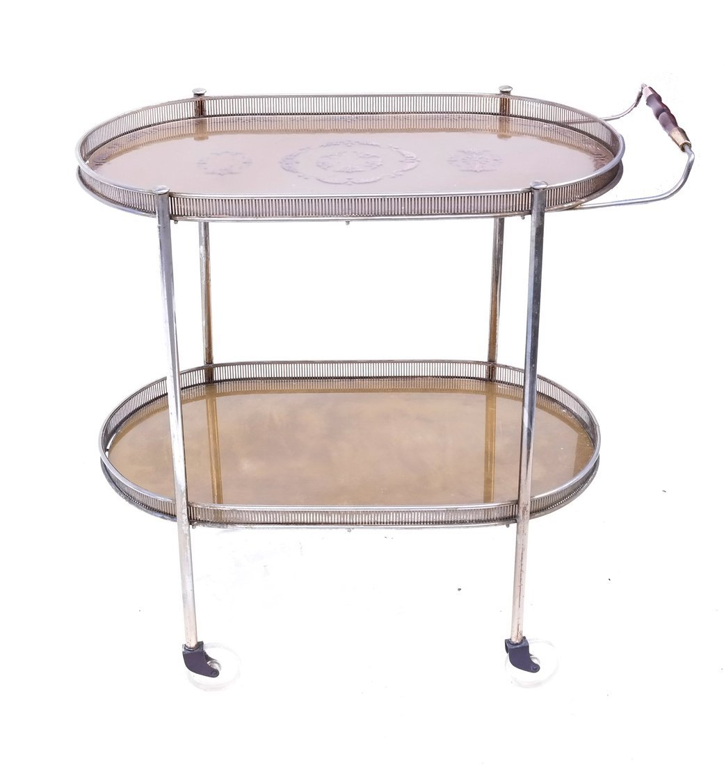 Oval Decorated Tea Cart - 2