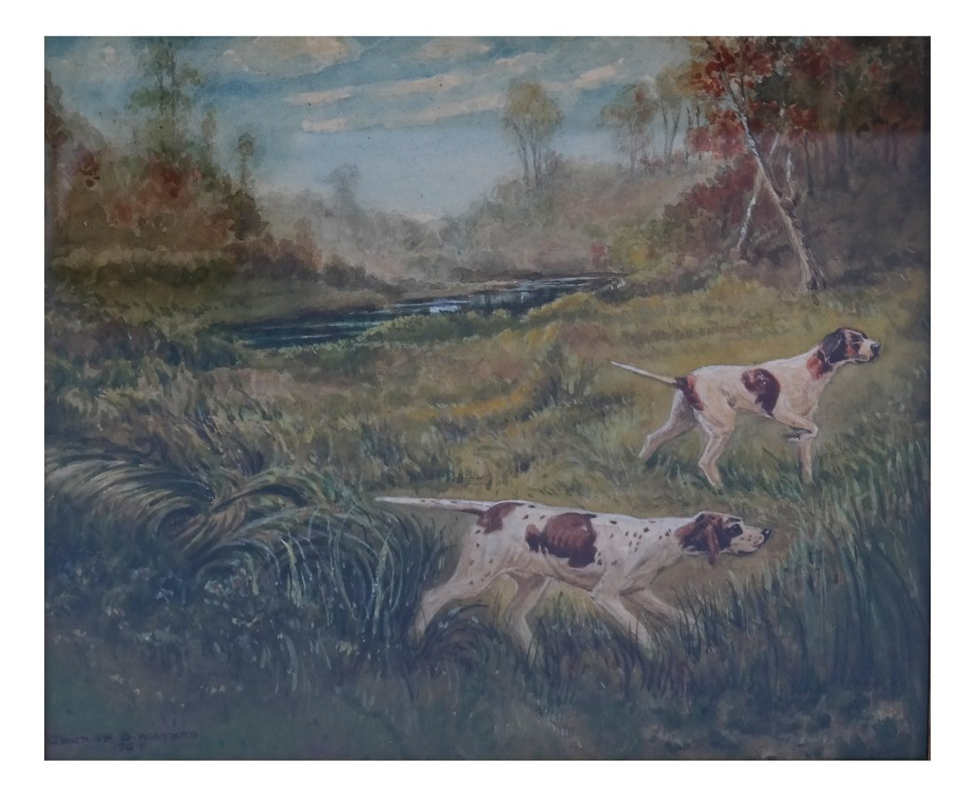 George Waters, Two Hunting Dogs, W/C