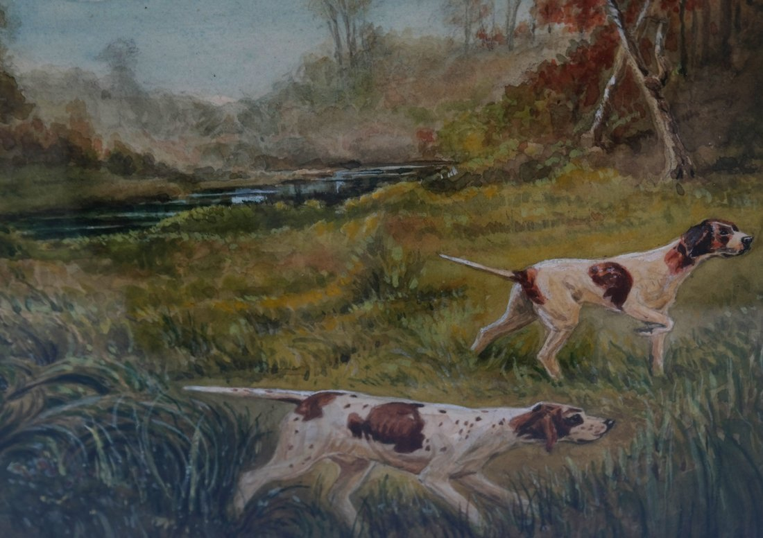 George Waters, Two Hunting Dogs, W/C - 4