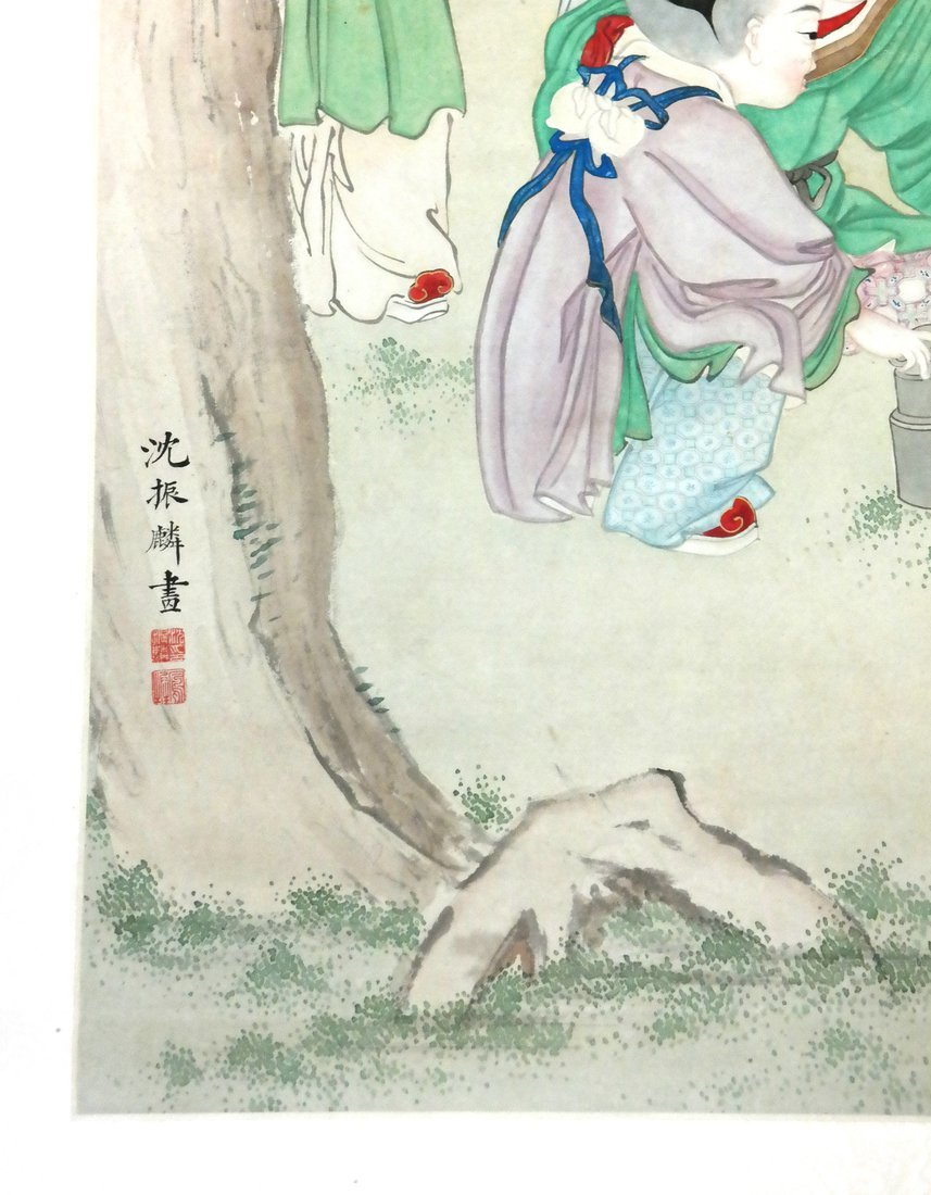 Chinese Scroll Watercolor - The Family - 4