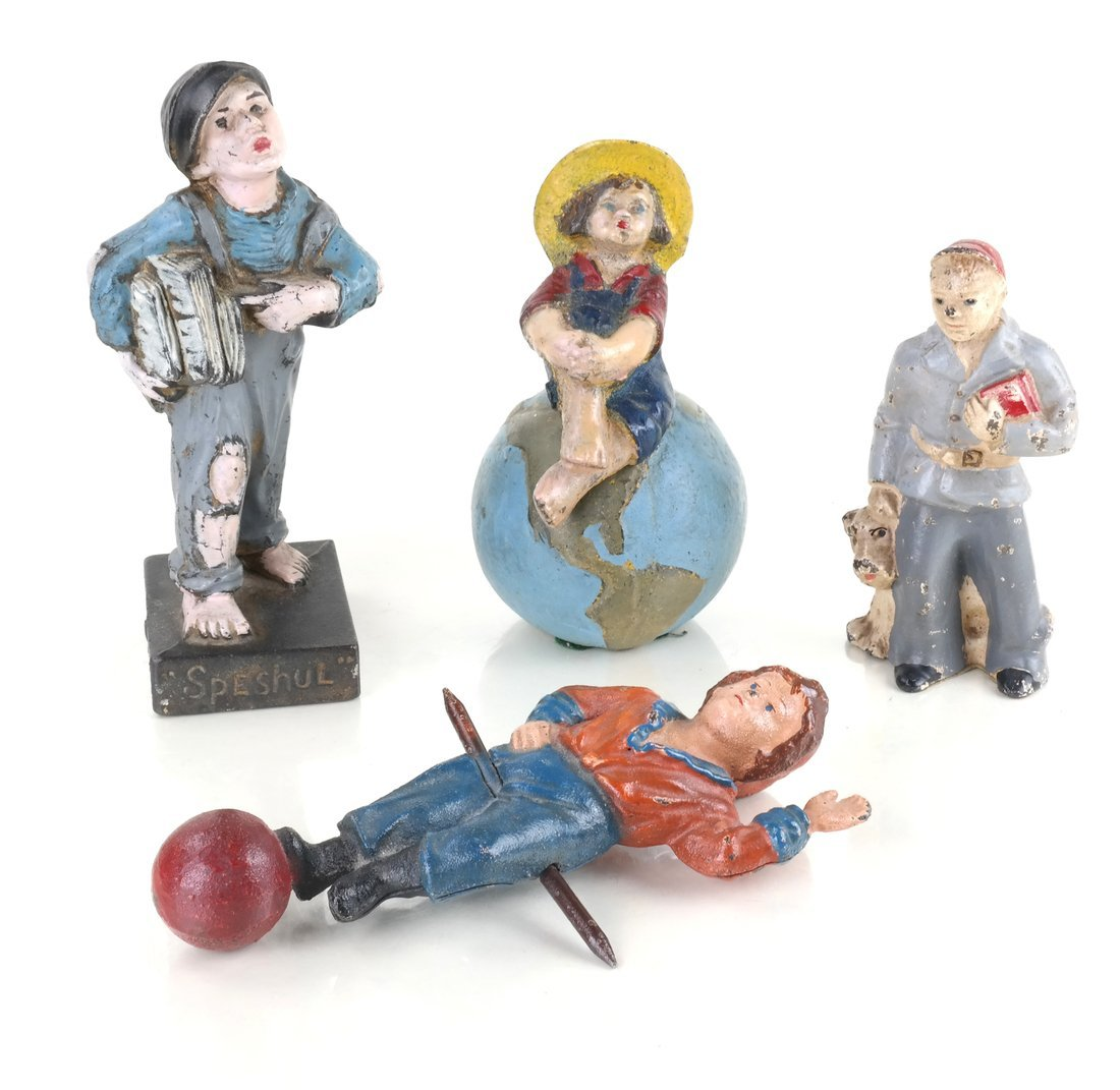 Four Painted Cast Iron Figures
