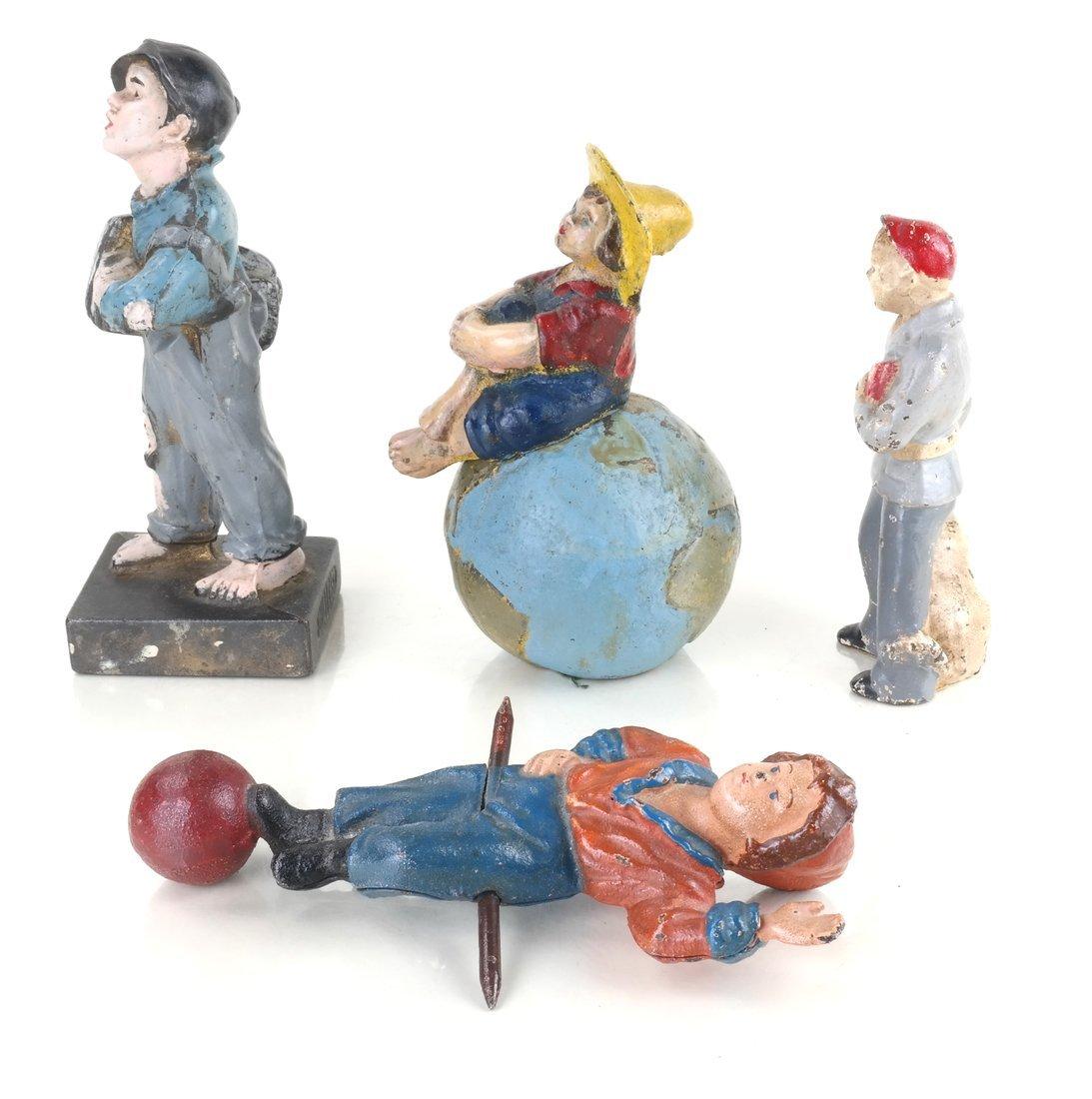 Four Painted Cast Iron Figures - 4
