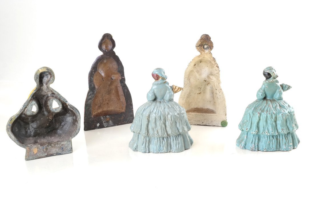 Five Painted Cast Iron Ladies - 3