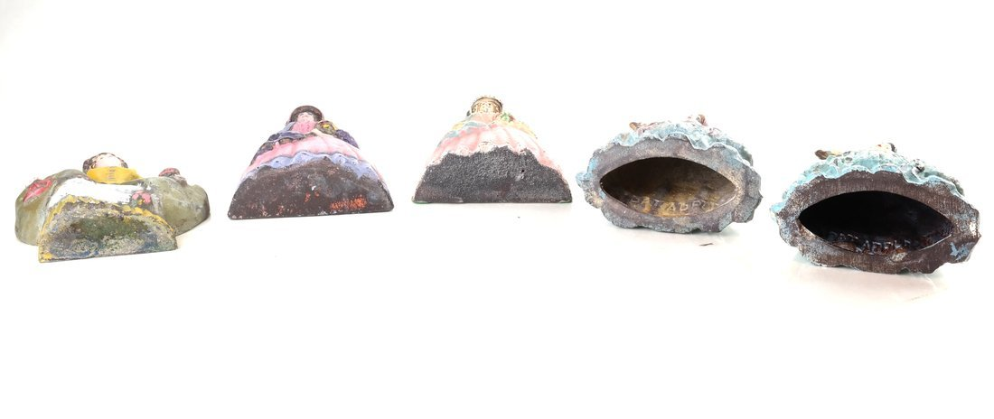 Five Painted Cast Iron Ladies - 5