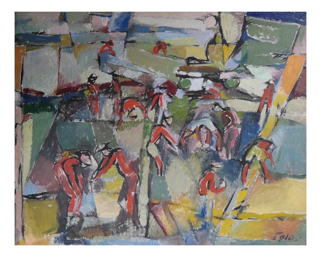 Sobel Abstract, Oil on Canvas - Figures