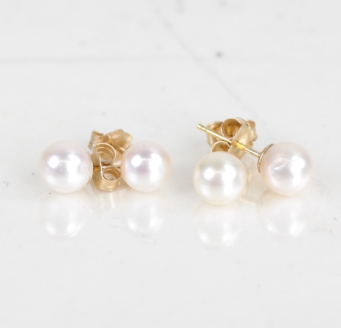 Two Pairs of Cultured Pearl Studs