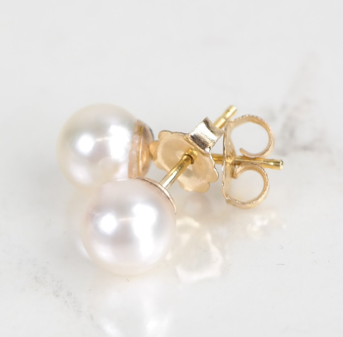 Two Pairs of Cultured Pearl Studs - 2