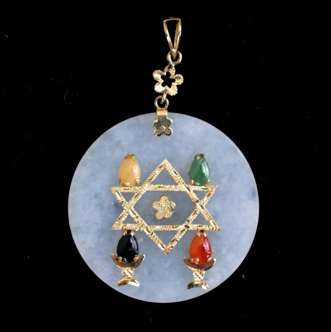 Jade and 14k Judaica Pendant - 2