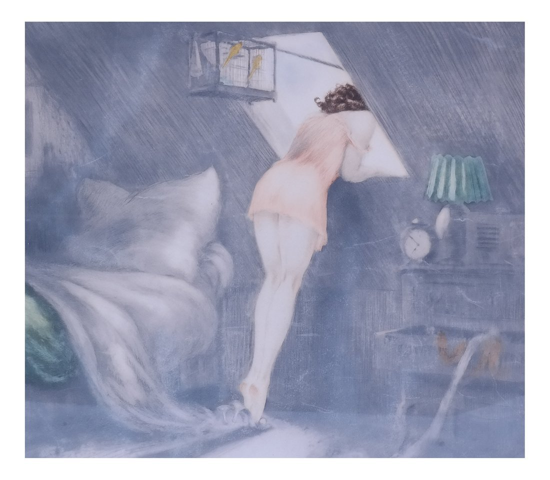 Louis Icart, Attic Window, Etching