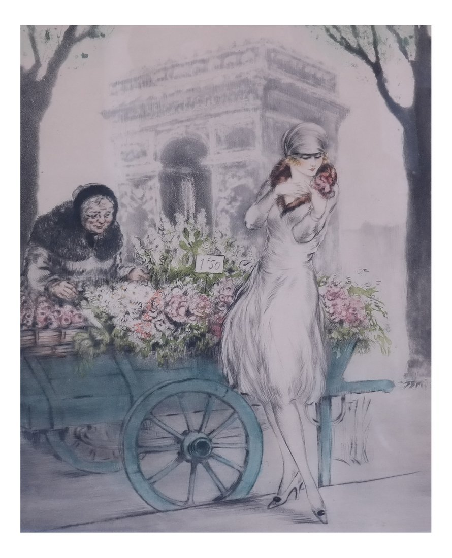 Louis Icart, The Flower Seller, Etching