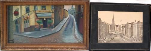 Two Framed Works: Urban Scenes