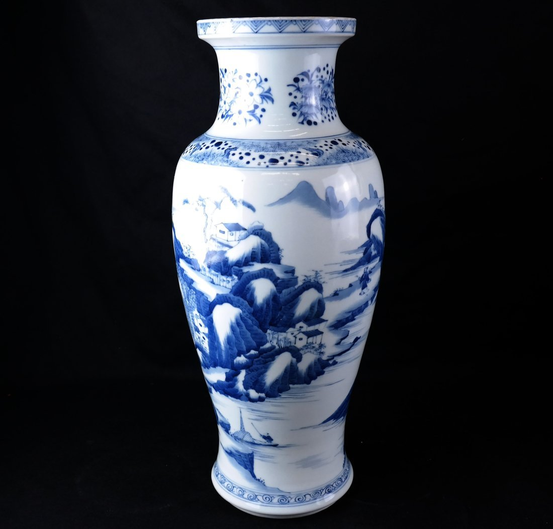 Asian-Style Blue and White Ceramic Vase
