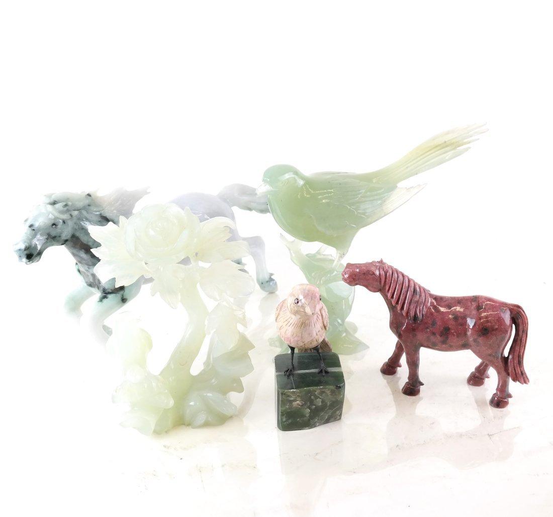 Five Hardstone & Jade Carved Items