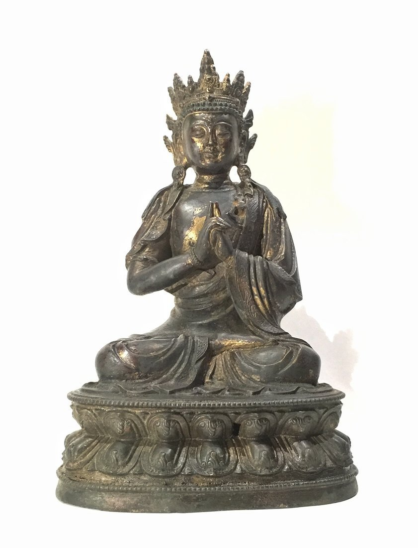 Chinese Gilt and Lacquer Bronze Buddha