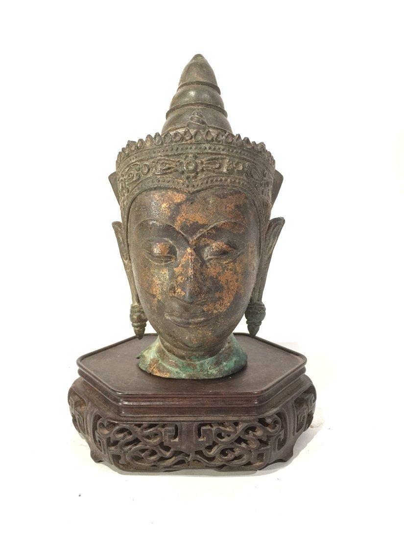Early Bronze Head of Buddha & Wood Stand